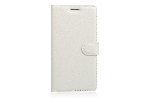 Фирменный чехол-книжка для Alcatel POP 4 5051D/X 5.0 с визитницей и мультиподставкой белый кожаный