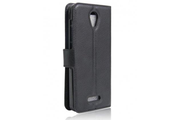 Фирменный чехол-книжка для Alcatel POP 4 5051D/X 5.0 с визитницей и мультиподставкой черный кожаный