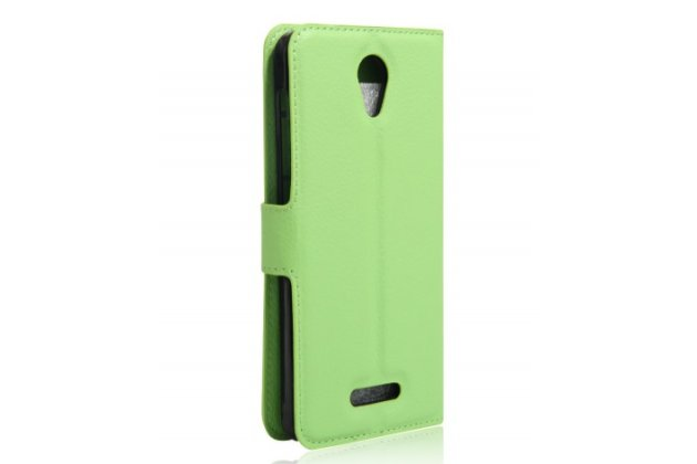 Фирменный чехол-книжка для Alcatel POP 4 5051D/X 5.0 с визитницей и мультиподставкой зеленый кожаный