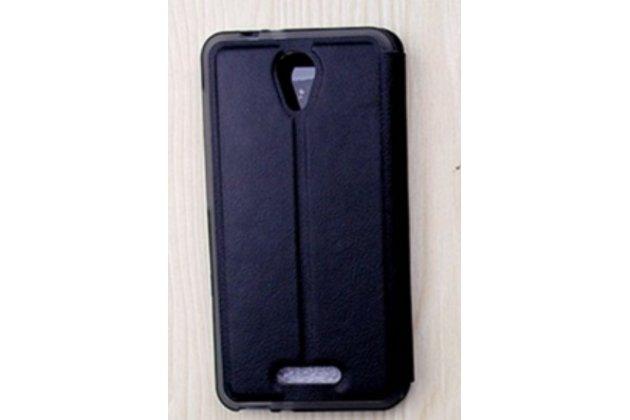 Фирменный оригинальный чехол-книжка для Alcatel POP 4 5051D/X 5.0 черный с окошком для входящих вызовов и мультиподставкой водоотталкивающий