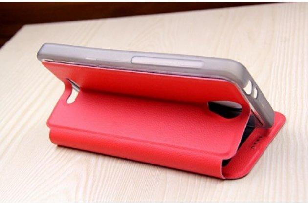 Фирменный оригинальный чехол-книжка для Alcatel POP 4 5051D/X 5.0 красный с окошком для входящих вызовов и мультиподставкой водоотталкивающий