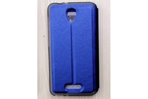 Фирменный оригинальный чехол-книжка для Alcatel POP 4 5051D/X 5.0 синий с окошком для входящих вызовов и мультиподставкой  водоотталкивающий