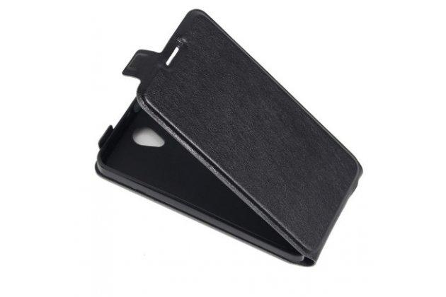 Фирменный вертикальный откидной ультра-тонкий чехол-флип для Alcatel POP 4 5051D/X 5.0 черный