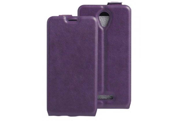 Фирменный вертикальный откидной ультра-тонкий чехол-флип для Alcatel POP 4 5051D/X 5.0 фиолетовый