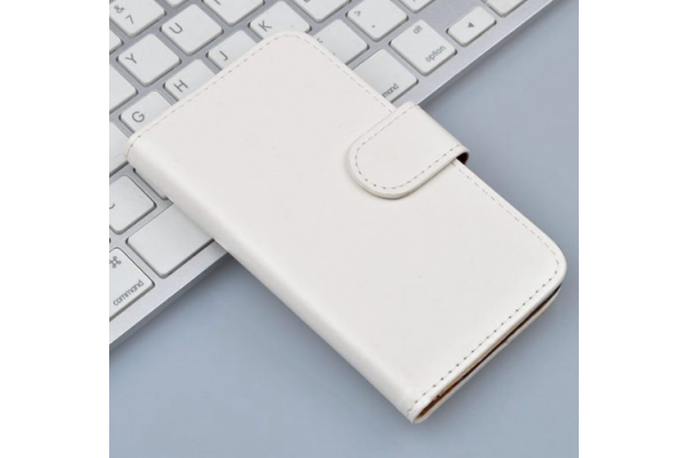 """Фирменный чехол-книжка для Alcatel POP 4 Plus 5056D 5.5""""  с визитницей и мультиподставкой белый кожаный"""