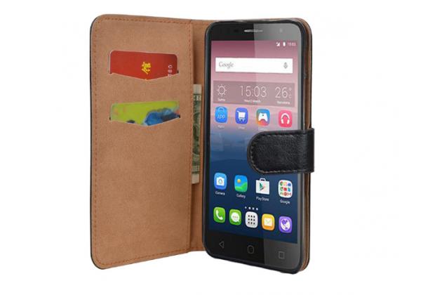 """Фирменный чехол-книжка для Alcatel POP 4 Plus 5056D 5.5"""" с визитницей и мультиподставкой черный кожаный"""