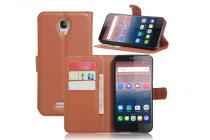 """Фирменный чехол-книжка для  Alcatel POP 4 Plus 5056D 5.5"""" с визитницей и мультиподставкой коричневый кожаный"""