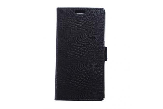 """Фирменный чехол-книжка с подставкой для Alcatel POP 4 Plus 5056D 5.5"""" лаковая кожа крокодила черный"""