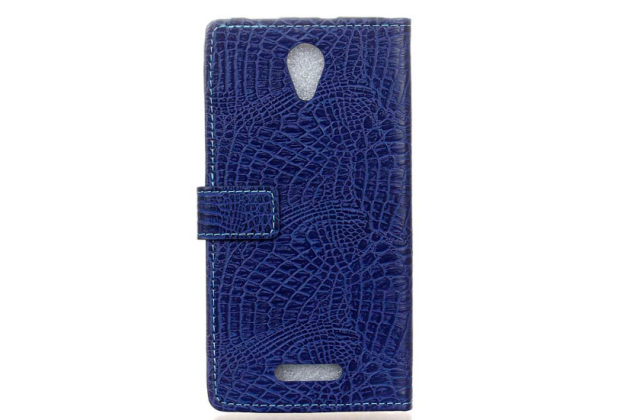 "Фирменный чехол-книжка с подставкой для Alcatel POP 4 Plus 5056D 5.5""  лаковая кожа крокодила темно-синий"