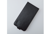 """Фирменный оригинальный вертикальный откидной чехол-флип для Alcatel POP 4 Plus 5056D 5.5""""  черный кожаный"""
