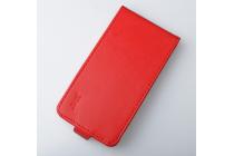 """Фирменный оригинальный вертикальный откидной чехол-флип для Alcatel POP 4 Plus 5056D 5.5"""" оранжевый кожаный"""