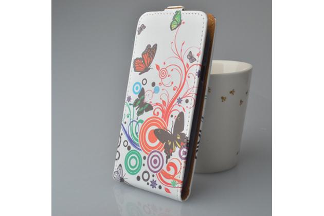 """Фирменный вертикальный откидной чехол-флип для Alcatel POP 4 Plus 5056D 5.5"""" """"тематика радужные Бабочки"""""""