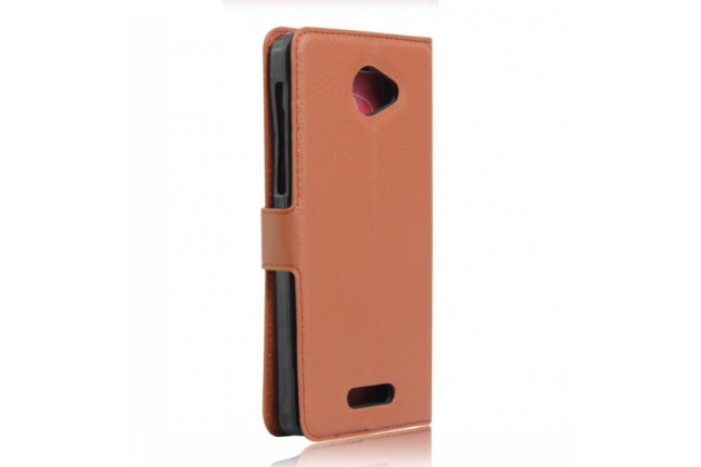 """Фирменный чехол-книжка для  Alcatel POP 4S 5095Y/ 5095K 5.5"""" с визитницей и мультиподставкой коричневый кожаный"""