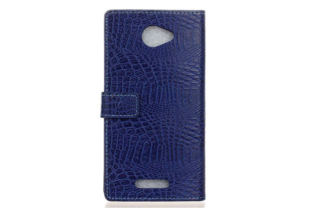 Фирменный чехол-книжка с подставкой для Alcatel POP 4S 5095Y/ 5095K лаковая кожа крокодила фиолетовый