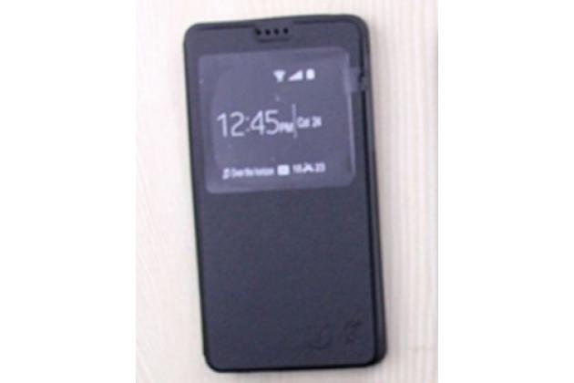 Фирменный оригинальный чехол-книжка для Alcatel POP 4S 5095Y/ 5095K черный кожаный с окошком для входящих вызовов