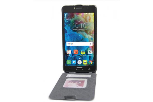 Фирменный оригинальный вертикальный откидной чехол-флип для Alcatel POP 4S 5095Y/ 5095K черный кожаный