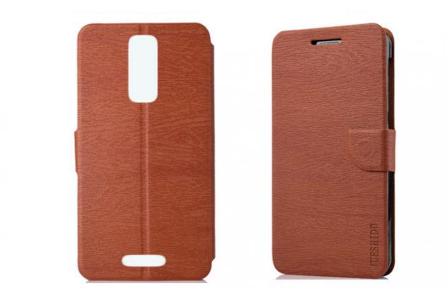 Фирменный чехол-книжка водоотталкивающий с мульти-подставкой для Alcatel A3 XL 9008D/9008X коричневый