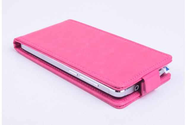 Фирменный оригинальный вертикальный откидной чехол-флип для Alcatel U5 5044Y 5.0 розовый из натуральной кожи Prestige