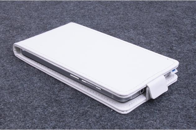Фирменный оригинальный вертикальный откидной чехол-флип для Alcatel U5 5044Y 5.0 белый из натуральной кожи Prestige