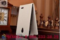 """Фирменный оригинальный вертикальный откидной чехол-флип для Alcatel POP 2 5042D/5042X белый из качественной импортной кожи """"Prestige"""" Италия"""