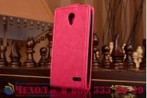 """Фирменный оригинальный вертикальный откидной чехол-флип для Alcatel POP 2 5042D/5042X розовый из качественной импортной кожи """"Prestige"""" Италия"""