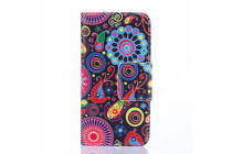 """Фирменный уникальный необычный чехол-подставка с визитницей кармашком для Alcatel POP 2 5042D/5042X """"тематика разноцветные узоры в галактике"""""""