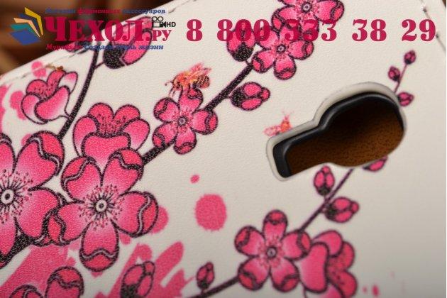 """Фирменный вертикальный откидной чехол-флип для Alcatel POP 2 5042D/5042X """"тематика Цветок Вишни"""""""