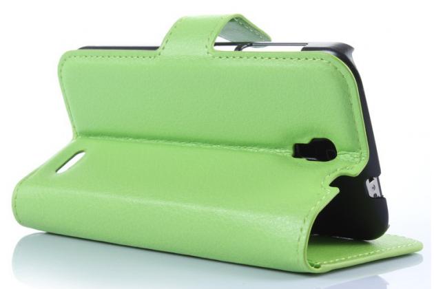 Фирменный чехол-книжка из качественной импортной кожи с мульти-подставкой застёжкой и визитницей для Алкател Поп 2 5042Д/5042Икс зеленый