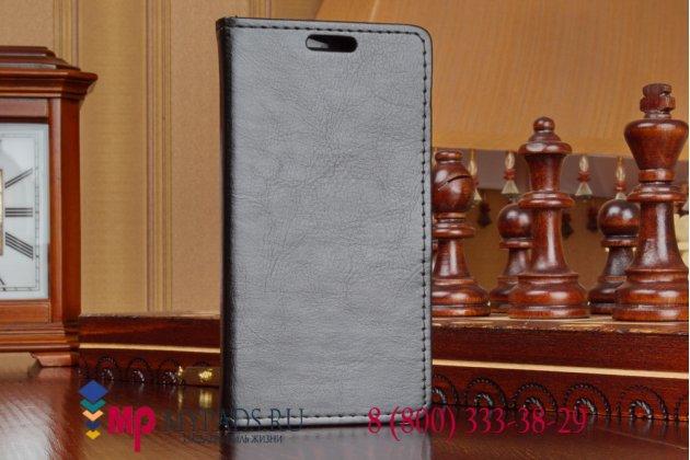 Фирменный чехол-книжка из качественной импортной кожи с подставкой застёжкой и визитницей для Alcatel POP 2 5042D/5042X черный