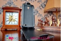 """Фирменный оригинальный вертикальный откидной чехол-флип для Alcatel POP 2 5042D/5042X черный кожаный """"Prestige"""" Италия"""