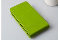 """Фирменный оригинальный вертикальный откидной чехол-флип для Alcatel POP 2 5042D/5042X зеленый кожаный """"Prestige"""" Италия"""