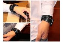 Фирменные сменные кожаные ремешки комплект из 4 ремешков для умных смарт-часов Apple Watch 38mm из качественной импортной кожи