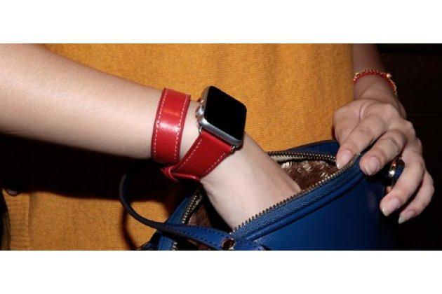 Фирменные сменные кожаные ремешки комплект из 2 ремешков для умных смарт-часов Apple Watch 38mm из качественной импортной кожи