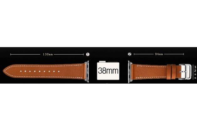 Фирменный сменный кожаный ремешок для умных смарт-часов Apple Watch 38mm коричневый из качественной импортной кожи