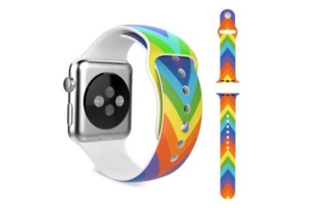 Фирменный необычный сменный тканевый ремешок для умных смарт-часов Apple Watch 38mm радужный