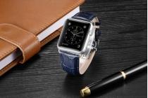 Фирменный сменный кожаный ремешок для умных смарт-часов Apple Watch 38mm из кожи крокодила синего цвета