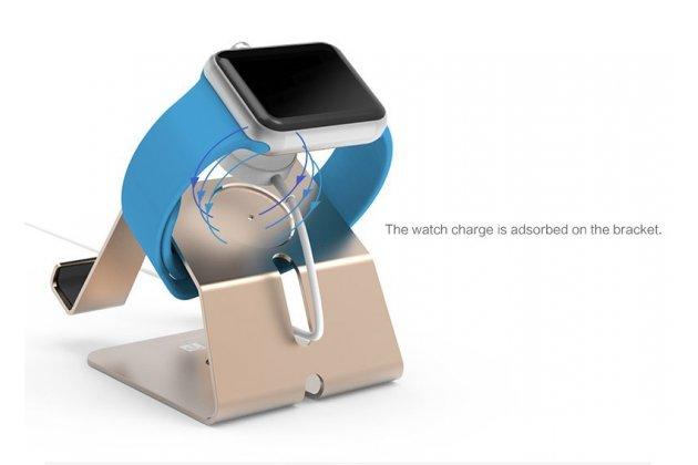 Фирменное зарядное устройство/док-станция/подставка 2 в 1-ом для умных смарт-часов Apple Watch золотая алюминиевая
