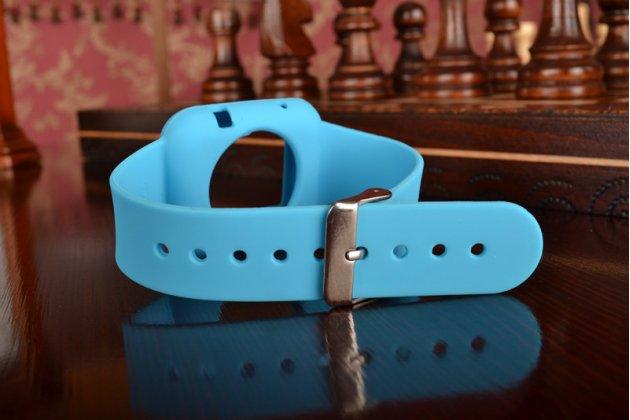 Фирменный сменный силиконовый ремешок для умных смарт-часов Apple Watch 42mm голубого цвета