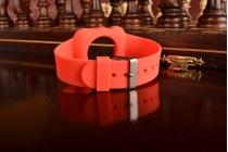 Фирменный сменный силиконовый ремешок для умных смарт-часов Apple Watch 42mm красного цвета