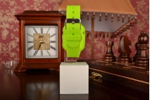 Фирменный сменный силиконовый ремешок для умных смарт-часов Apple Watch 42mm зелёного цвета