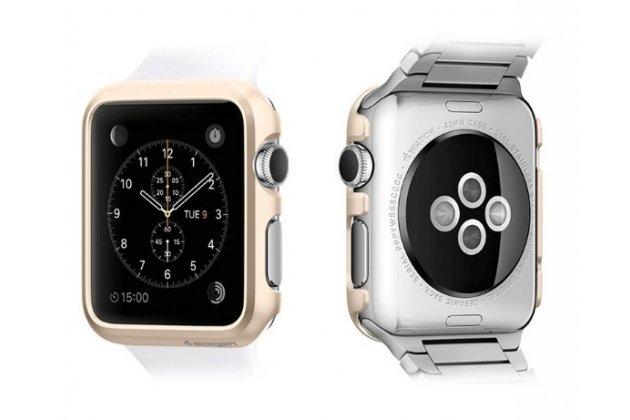 Фирменный ультра-тонкий пластиковый чехол-бампер-накладка с функцией включения /выключения для умных смарт-часов Apple Watch 38mm золотого цвета