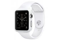 Фирменный ультра-тонкий пластиковый чехол-бампер-накладка с функцией включения /выключения для умных смарт-часов Apple Watch 42mm белого цвета