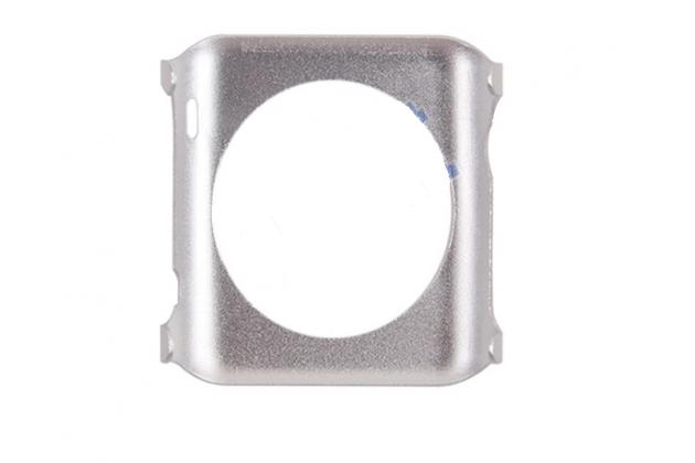 Фирменный ультра-тонкий из прочного алюминия чехол-кейс-пенал для умных смарт-часов Apple Watch 38mm серебристый