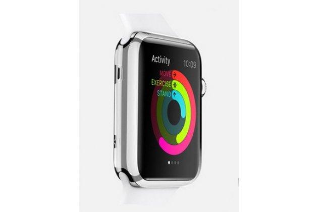 Фирменный ультра-тонкий пластиковый чехол-кейс-пенал для умных смарт-часов Apple Watch 38mm белого цвета