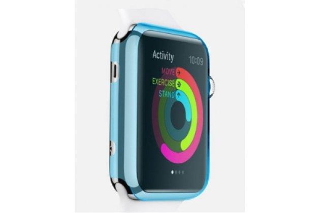 Фирменный ультра-тонкий пластиковый чехол-кейс-пенал для умных смарт-часов Apple Watch 38mm голубого цвета