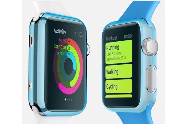 Фирменный ультра-тонкий пластиковый чехол-кейс-пенал для умных смарт-часов Apple Watch 42mm голубого цвета