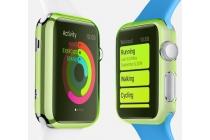 Фирменный ультра-тонкий пластиковый чехол-кейс-пенал для умных смарт-часов Apple Watch 38mm зелёного цвета