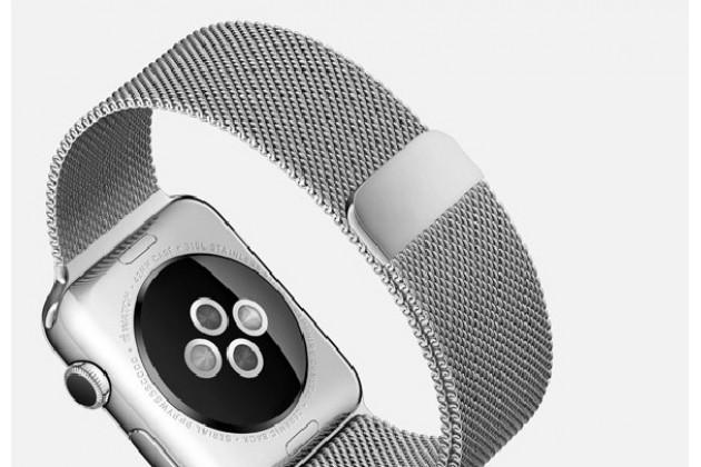 Фирменный сменный сетчатый плетёный миланский ремешок для умных смарт-часов Apple Watch 42mm из нержавеющей стали с магнитным замком-застежкой серебряного цвета
