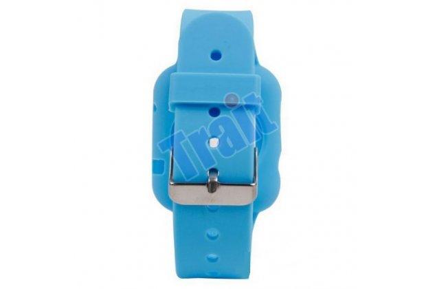 Фирменный сменный силиконовый ремешок для умных смарт-часов Apple Watch 38mm голубого цвета