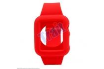 Фирменный сменный силиконовый ремешок для умных смарт-часов Apple Watch 38mm красного цвета